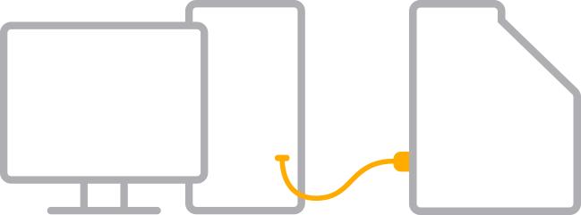 Explicação visual de como ligar os aparelhos